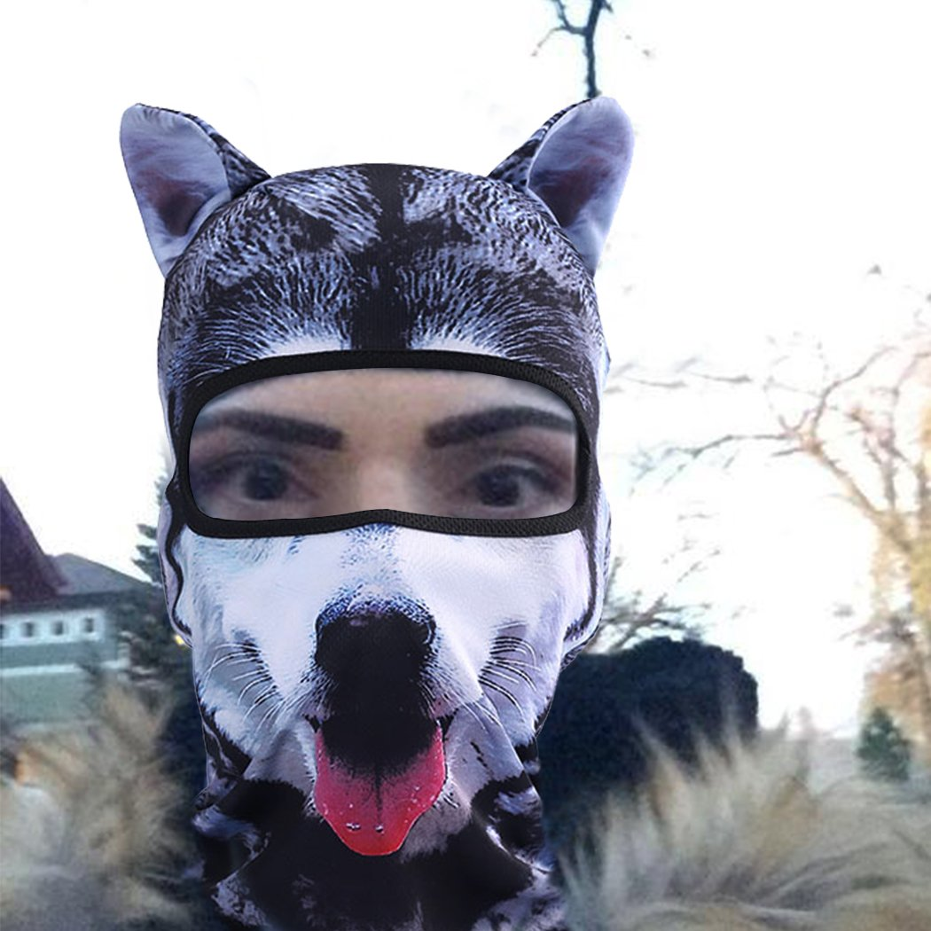 Outgeek Cat Mask, Women Men Balaclava Summer Full Face Hat Animal Ears Sports Helmet Climbing Fishing Cap (2PCS Dogs) by Outgeek (Image #2)