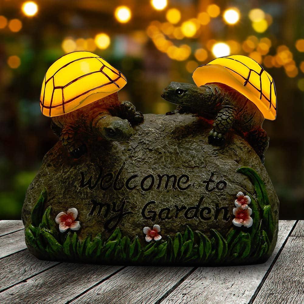 Yiosax Solar Lights Outdoor Garden Décor- Garden Resin Figurine 2 Turtles Crawling on The Rocks Marked