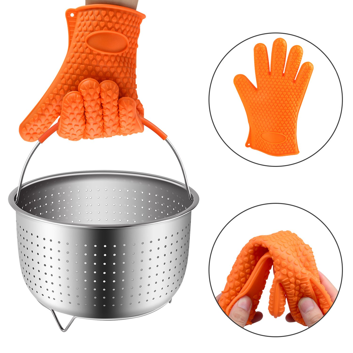 HomeeFly Steamer Basket Instant Pot 6 8 Quart Accessories,Stainless Steel Strainer Insert fits IP Insta Pot,Instapot 6qt&8qt Pressure Cooker Heat Resistant Glove…