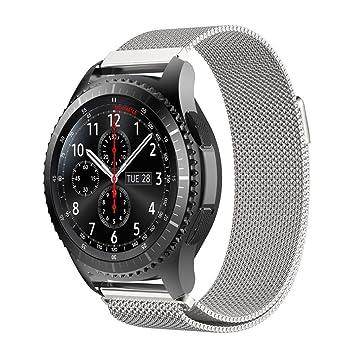 Correa de repuesto para reloj Samsung Gear S3 frontier de acero inoxidable, con cierre magné