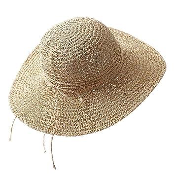fe42a38a2a8 Leezo Womens Floppy Straw Sun Hats Ladies Beach Wide Brim Sun Cap Summer UPF  50 Fashion