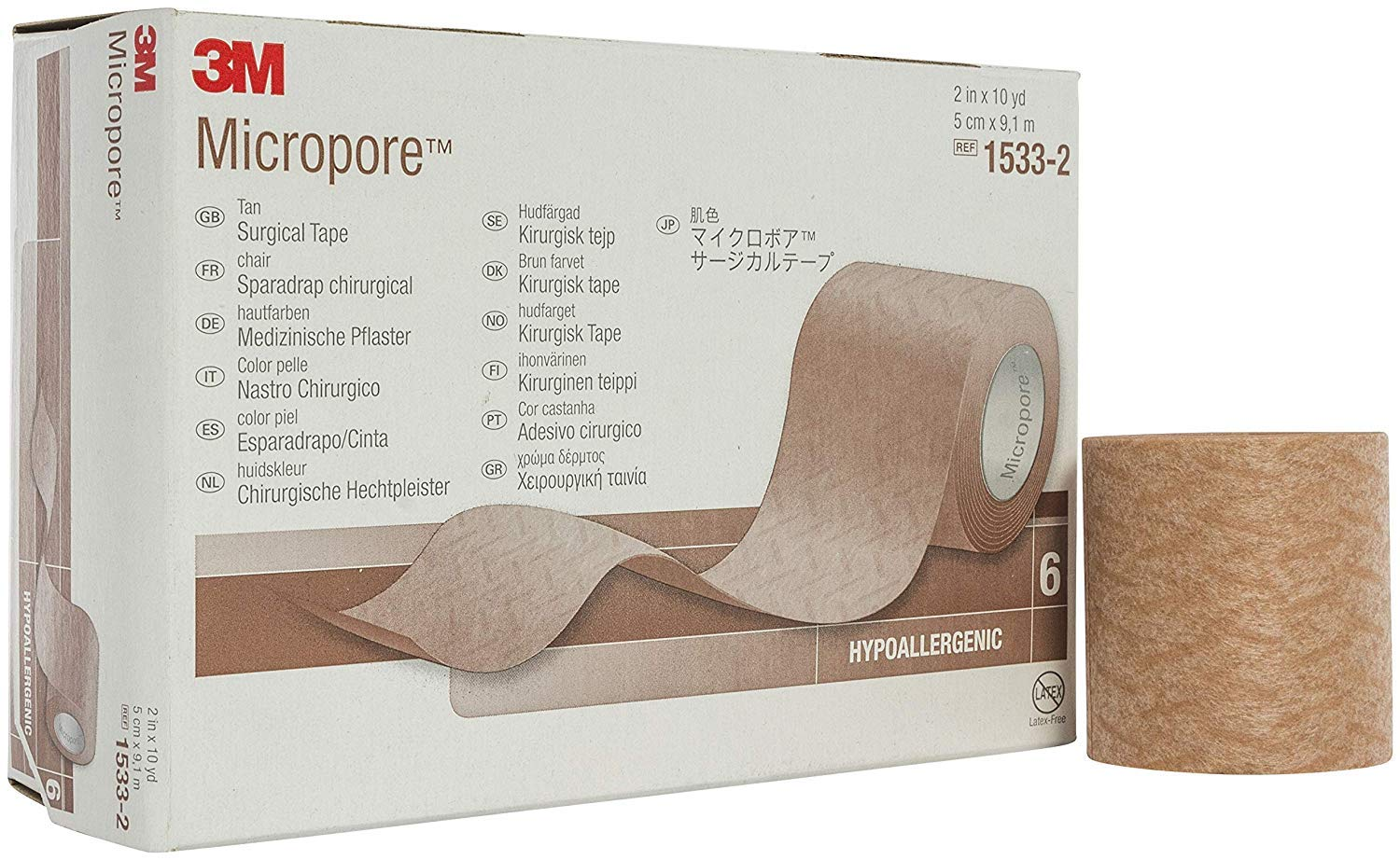 """3M-1533-2 Tape Micropore Surgical LF Paper 2""""x10yd Tan 6/Bx by 3M Part No. 1533-2"""