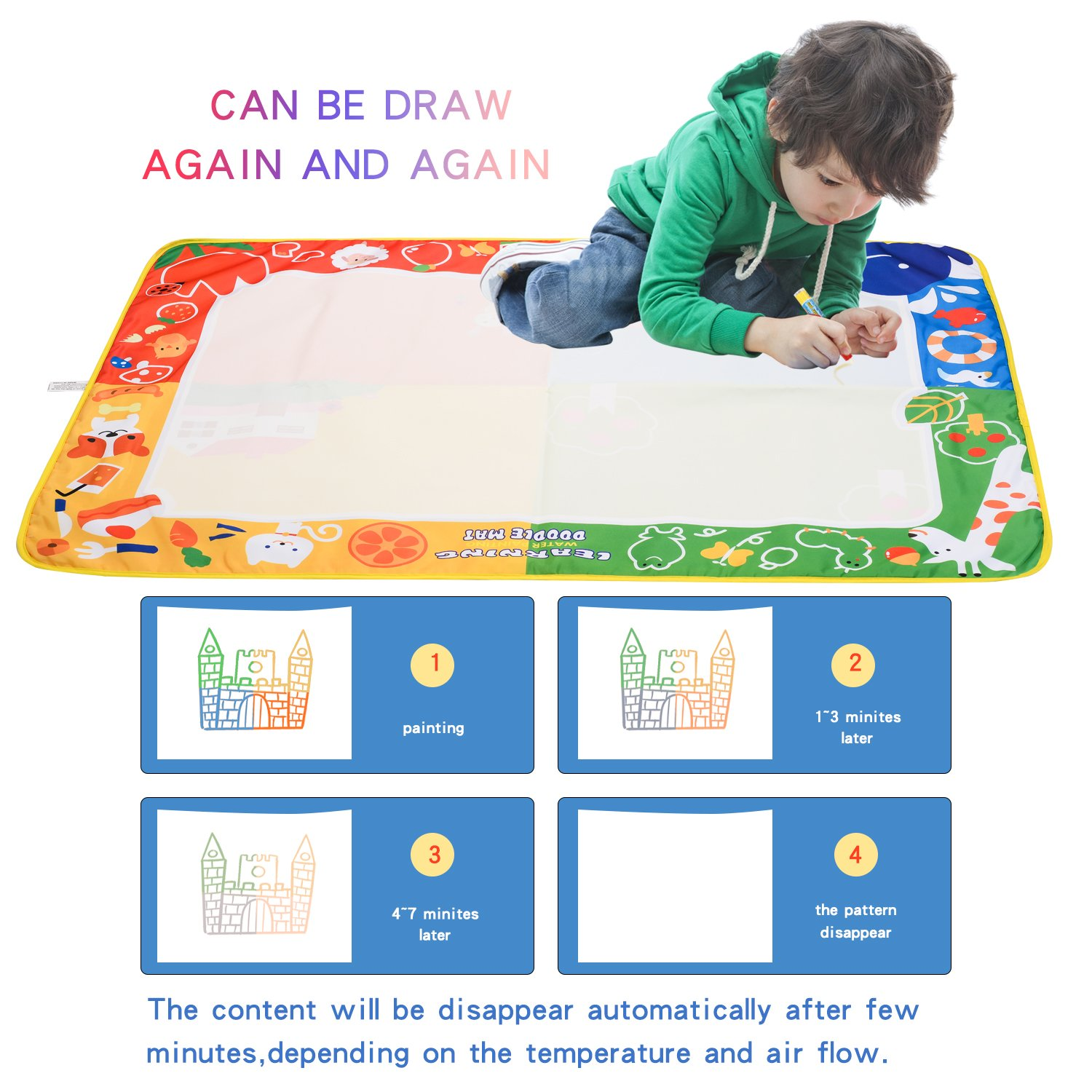 citymama Drawing Mat Doodle Magic mat water Drawing & writing Mat painting board 4 Colors with 3 Magic Drawing Pens and 15 Molds Kids Educational Toy Mat Gift for Children XL Size 40'' x 28'' by citymama (Image #4)