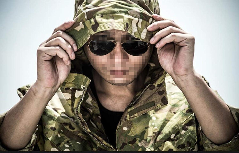 HAOYK Militar Chaqueta Softshell t/áctica con m/últiples Bolsillos del ej/ército con Capucha