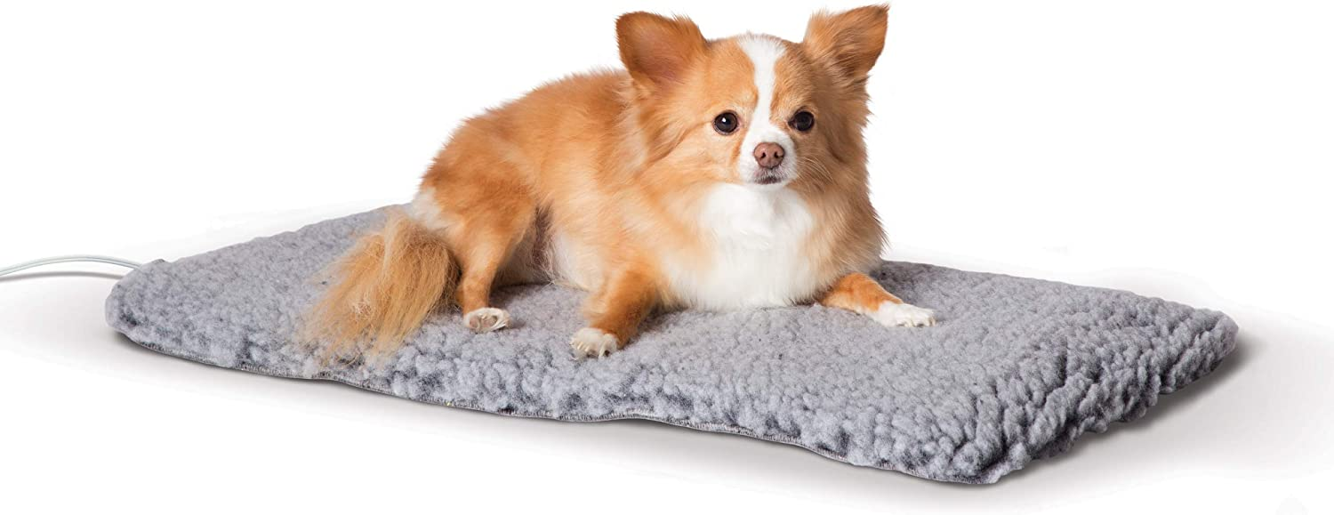 K&H PET PRODUCTS Thermo-Plush Pad Indoor Heated Pet Bed for Dogs & Cats, Gray, Small 12.5in x 25in, 13W