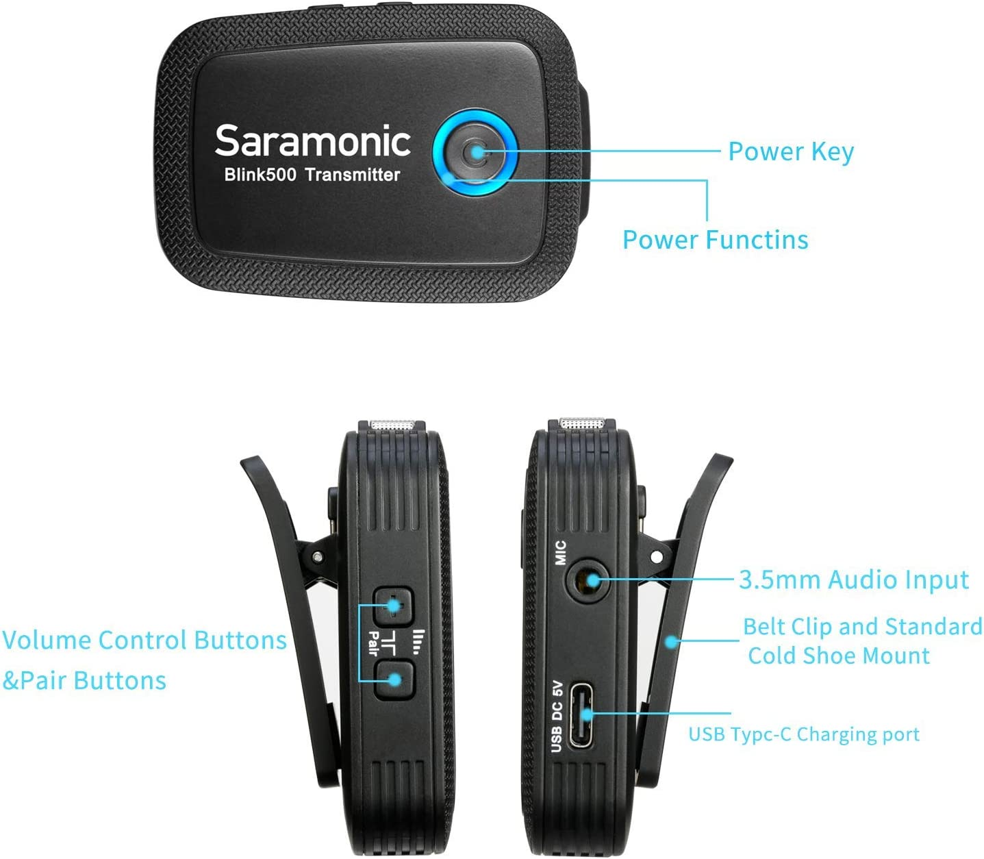 Saramonic Blink500 B6 2.4GHz Ultracompact Wireless Lavalier Microphone System with Battery-Free Plug&Play USB Type-C Receiver for Samsung Galaxy, LG, HTC Google, and Other USB-C Type Devices