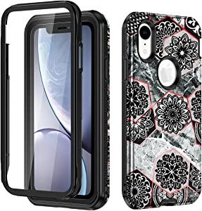 Hekodonk Compatible iPhone XR Case Built in Screen Protector Heavy Duty High Impact PC TPU Bumper Full Body Protective Shockproof Anti-Scratch Cover for Apple iPhone XR 6.1 Inch 2018-Marble Black