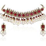 Zaveri Pearls Kundan Pearl Drop Choker Necklace Set for Women-ZPAM42