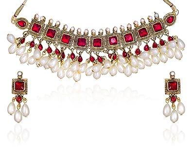 73d5918123ce3 Zaveri Pearls Kundan Pearl Drop Choker Necklace Set for Women-ZPAM42