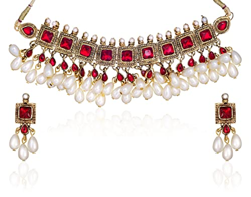 Zaveri Pearls Kundan Pearl Drop Choker Necklace Set for Women-ZPAM42 Women's Jewellery Sets at amazon