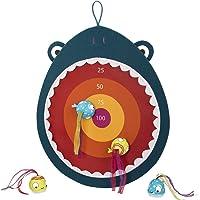 Battat – Hungry Toss Shark Toys - Kids Dart Board – Fabric Board and 4 Soft Fabric Darts for Kids 3+