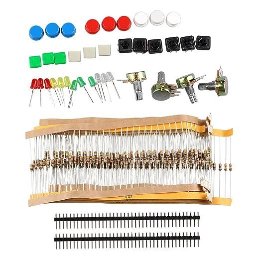 Kit de componentes electrónicos con interruptores, potenciómetro, LED y resistencias para Arduino
