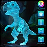 Dinosaur Toys Night Light for Kids, 3D Illusion Lamp 16 Colors with Timer, Remote Control and Smart Touch, T Rex Toy…