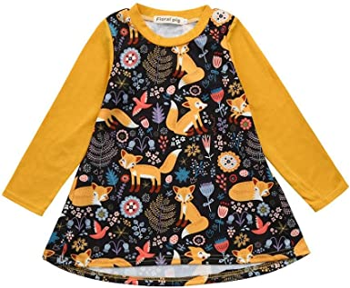 OCEAN-STORE Toddler Kids Baby Girls 12 Months-5T Deer Striped Princess Dress Christmas Outfits Clothes