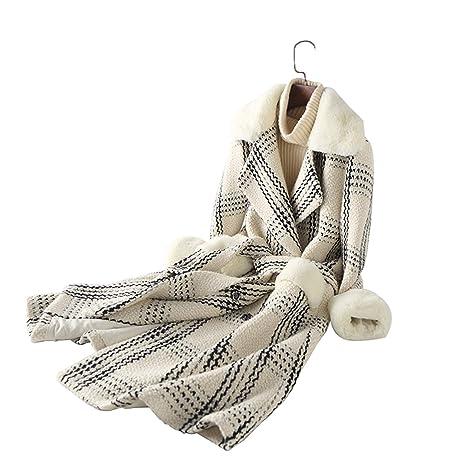 Chaqueta de Mujer Tweed Top Chaqueta Larga Abrigo de Piel sintética Chaqueta Cuadros suéter L Código