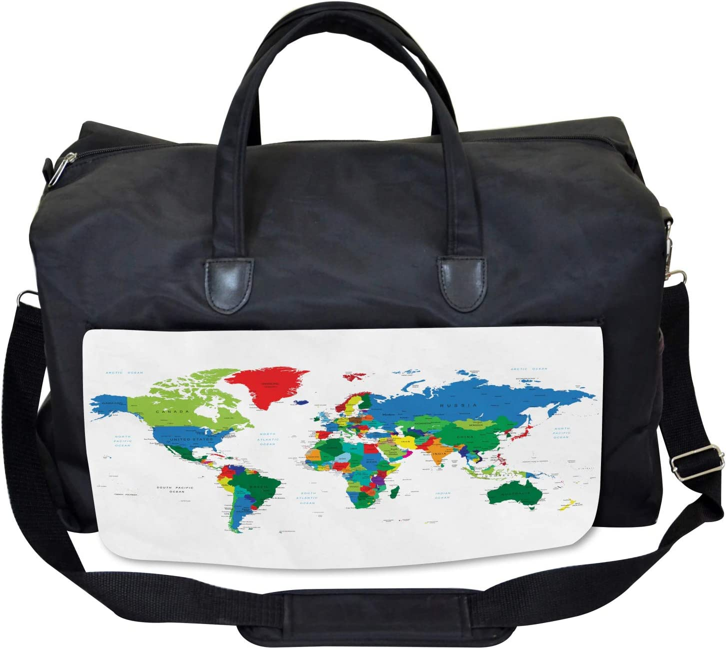 Large Weekender Carry-on Ambesonne World Map Gym Bag Colorful Political