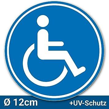 Aufkleber Rollstuhlfahrer ø 12cm Rollstuhl Symbol Zeichen Parken Mit Behinderung Rollstuhlaufkleber Behindertenaufkleber Rollstuhlzeichen