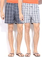 Jockey Gents Cotton Boxer Shorts Asstd Checks Twin Pack