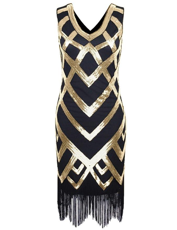 1930sStyleFashionDresses 1920S V Neck Sequined Beaded Embellishment Gatsby Flapper Dress  AT vintagedancer.com