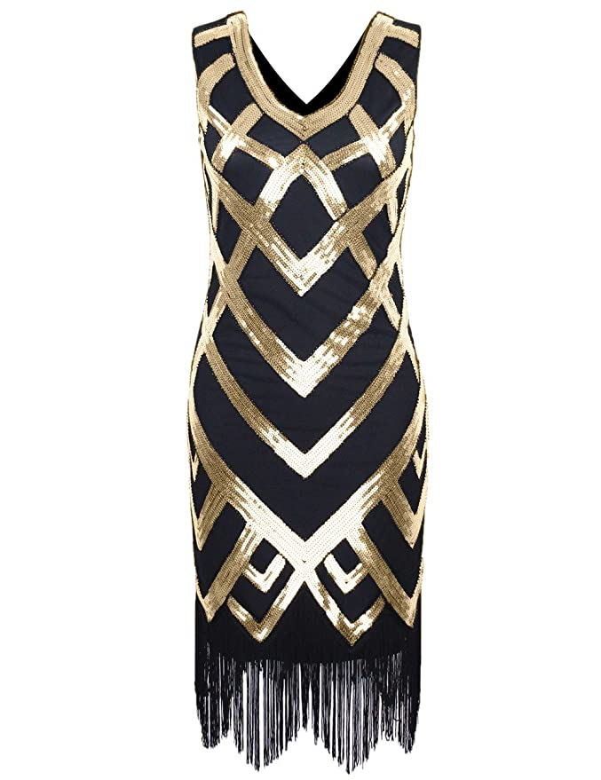 1930s Costumes 1920S V Neck Sequined Beaded Embellishment Gatsby Flapper Dress  AT vintagedancer.com