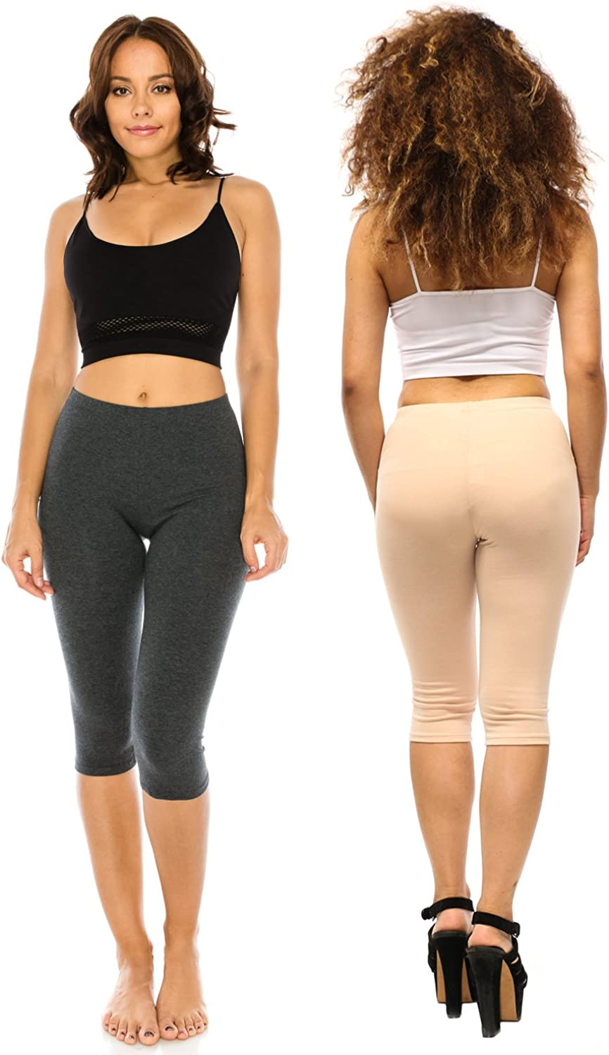 The Classic Womens Stretch Cotton Yoga Sports Leggings Capri Bottoms Leggings Tights S to 3XL Plus