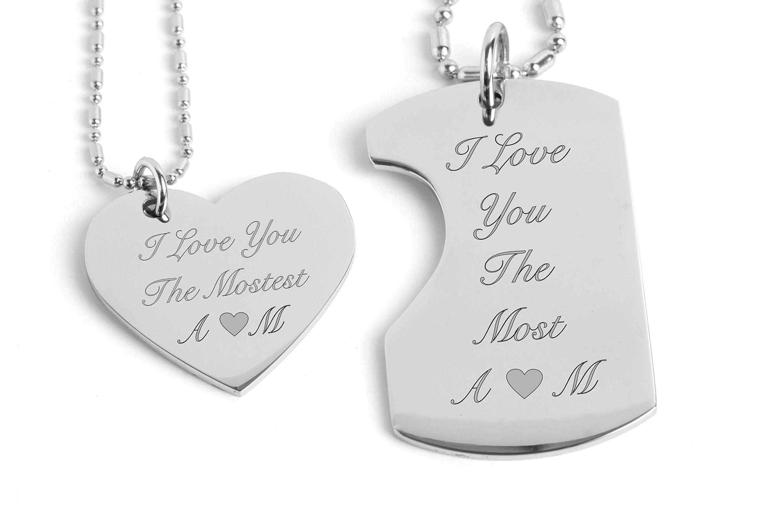 Personalized Dog Tag With Heart Necklace Set