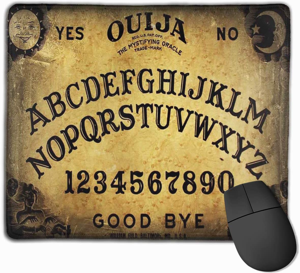 Mouse Pad Customized Dangerous Magical Game Ouija Board Pattern Mouse Mat Non-Slip Rubber Base Mousepad for Computer Laptop PC Gaming Working Office & Home 11.8 X 9.8 Inch