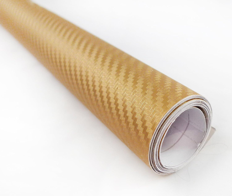 3dゴールド炭素繊維テクスチャビニールラップステッカーデカールフィルムシート 48