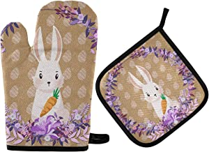 DOMIKING Pot Holders Oven Mitts Sets - Easter Bunnies Eggs Cooking Gloves Heat Resistant Hot Pads Non-Slip Potholders for Kitchen BBQ Grilling Cooking