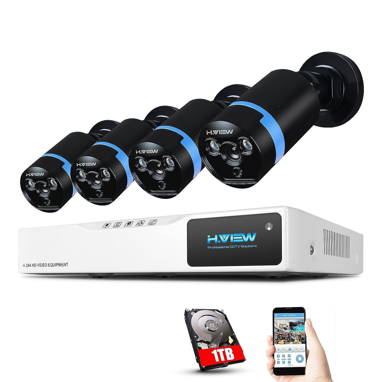 H.View 防犯カメラ4セット 200万画素 1080p 8ch 8台可能 CCTV 動体検知機能 赤外線 30m暗視撮影 遠隔監視 IP67防水 AHD 高画質 屋内/屋外 (1TB HDD付き) B076DS29GH 8ch DVR(1TB) +4 cameras 8ch DVR(1TB) +4 cameras