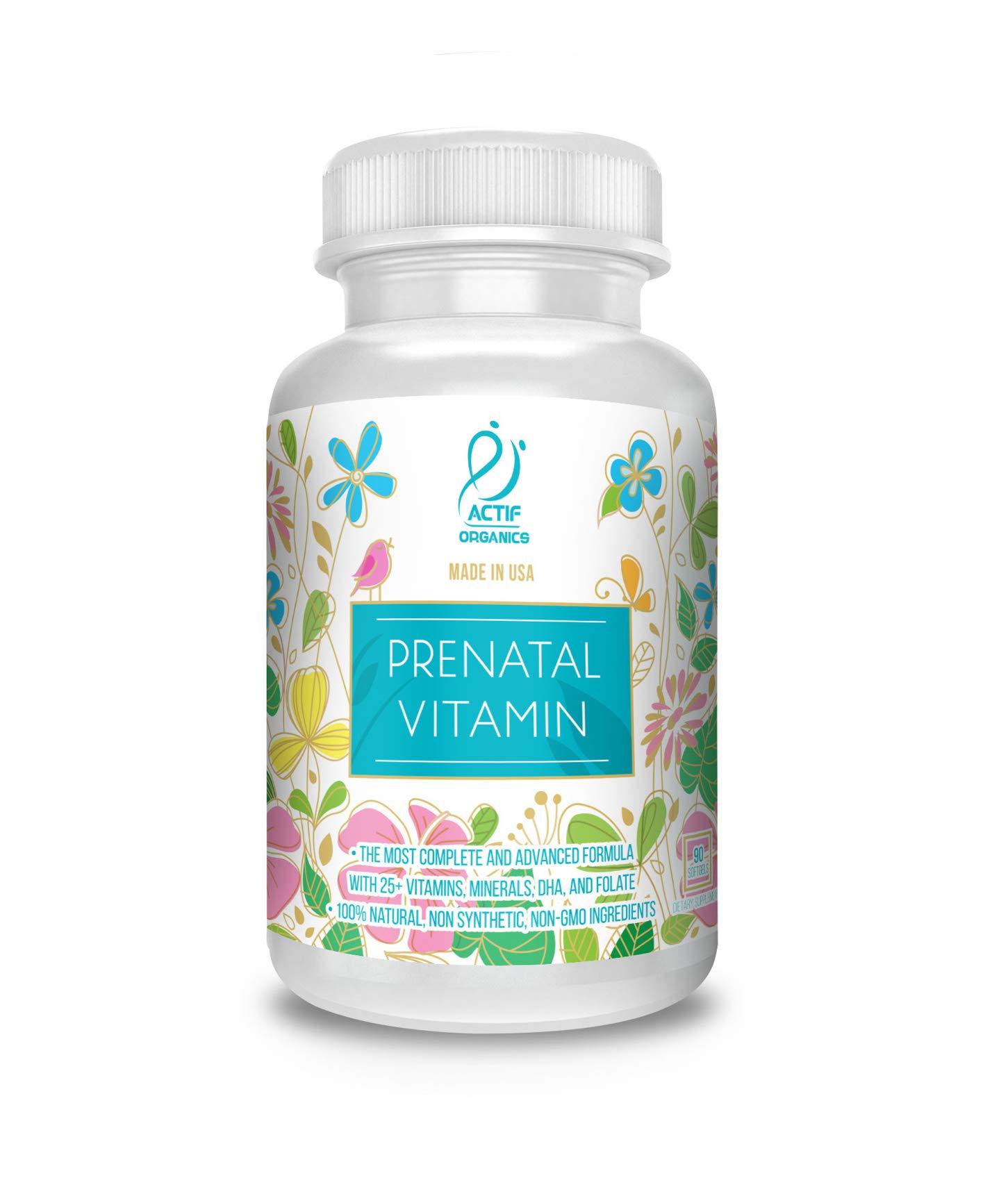 Actif Organic Prenatal Vitamin with 25+ Organic Vitamins, 100% Natural, DHA, EPA, Omega 3, and Organic Herbal Blend - Non-GMO, 90 Count