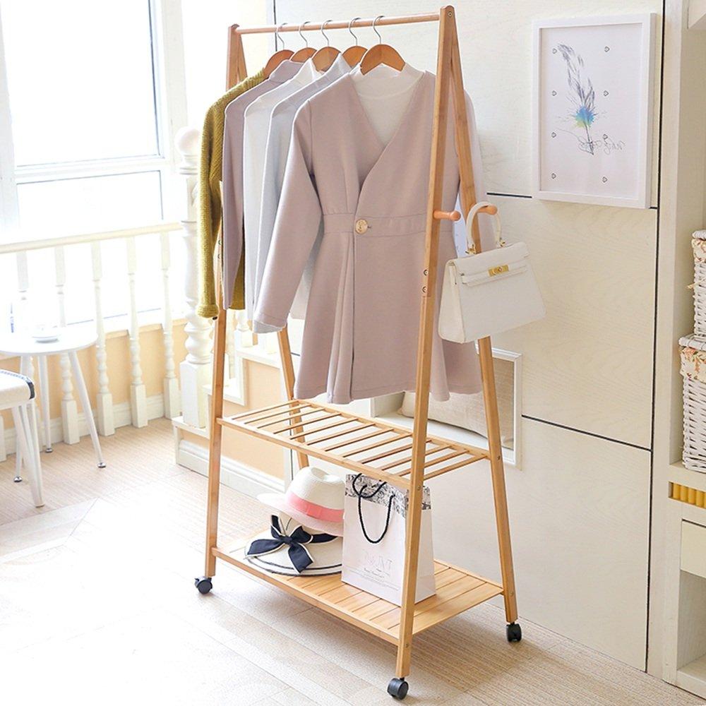 8045165cm XJRHB Multifunctional Hanger Bamboo Natural Clothes Rack 2 Layer Hanger Clothing Track Portable Wardrobe Coat Rack (Size   80  45  165cm)