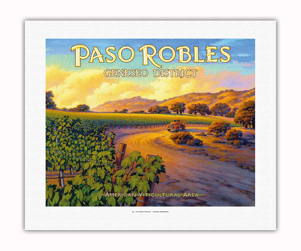 Pacifica Island Art - Paso Robles - Geneseo District - Central Coast AVA Vineyards - California Wine Country Art by Kerne Erickson - Fine Art Rolled Canvas Print - 16in x 20in