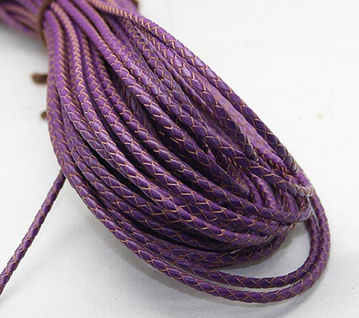Purple CHENGYIDA 2 Metters//6.6 ft 3mm Diameter Round Genuine Braided Leather Cord Necklace Bracelet DIY Jewelry Accessories