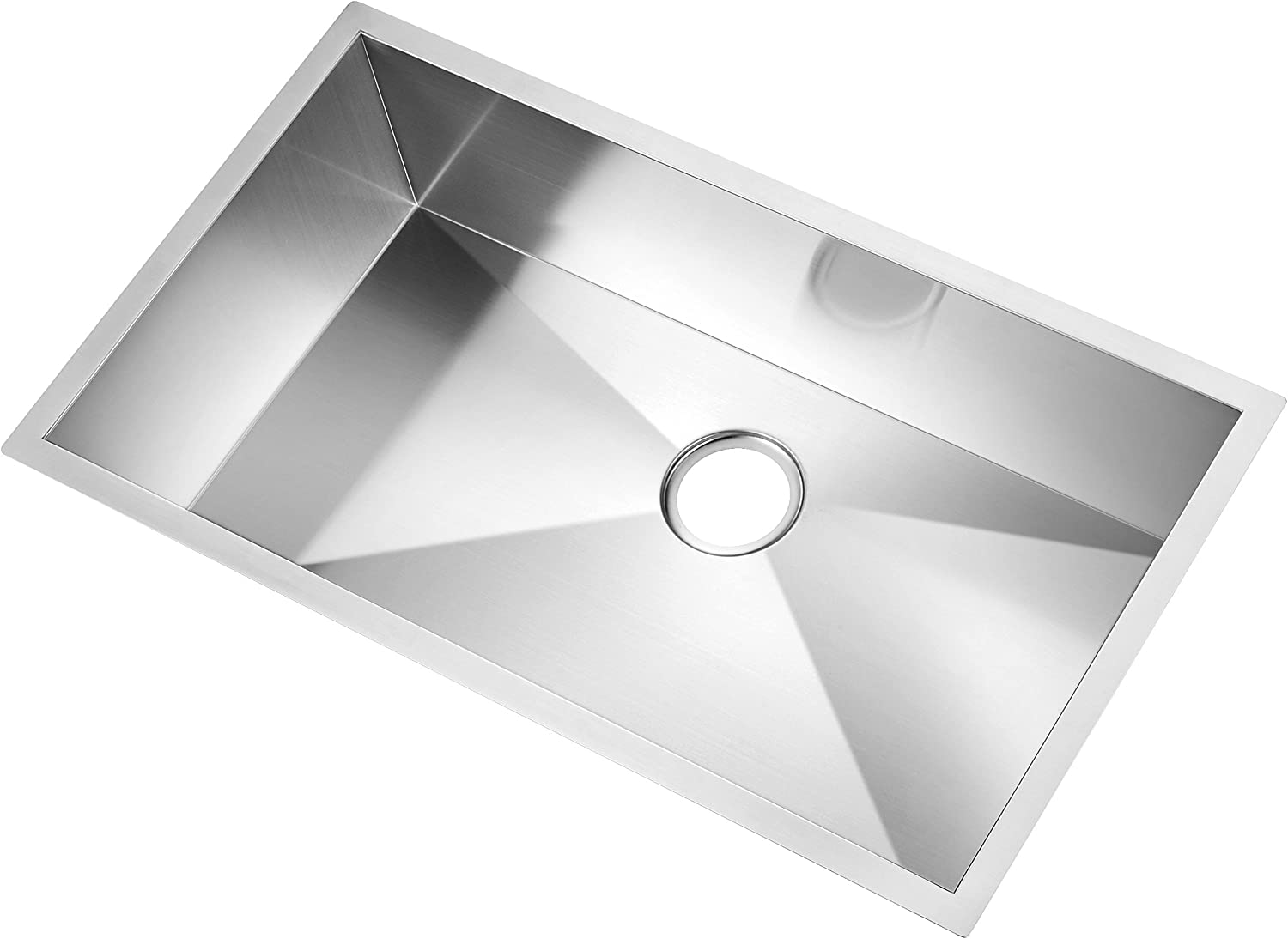 Water Creation SS-U-3319A 33-Inch by 19-Inch Zero Radius Single Bowl Stainless Steel Hand Made Kitchen Sink