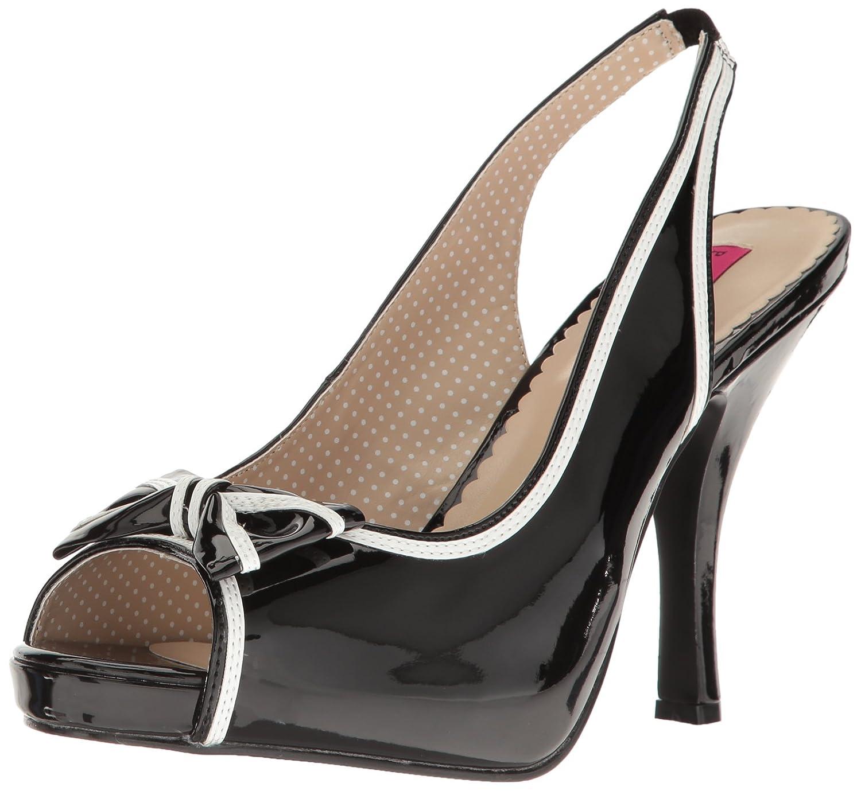 Pleaser Women's Pinup10/b-w Platform Dress Sandal B06XGWJZMB 9 B(M) US|Blk-wht Patent