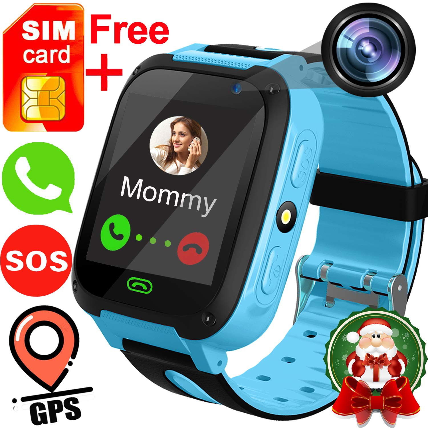 Kids Smart Watches with Free SIM Card- 1.44″ GPS Tracker Wrist Smart Watch Phone for Boys Girls with Camera Pedometer Smartwatch Bracelet Thanksgiving Christmas Birthday Gifts
