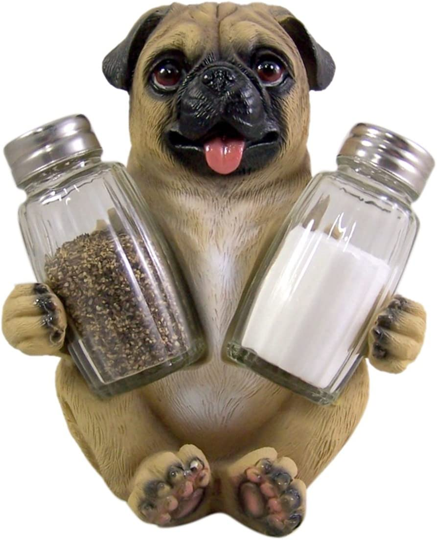 Peppery Pug Salt and Pepper Shaker Holder (Shakers Included)