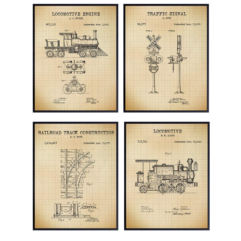 Railroad Patent Art Prints - Vintage Wall Art Poster Set - Chic Rustic Home Decor for Living Room, Bedroom, Kitchen, Man Cave, Office, Kids, Boys, Game Room - Gift for Train and Locomotive Fans - 8x10