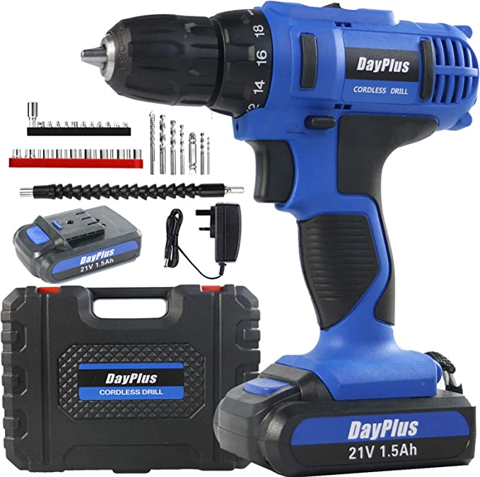 Meterk 18V Cordless Electric Drill Driver with 2Pcs Li-Ion Batteries,2 Speed Drill Driver with 21+1 Position Clutch Cordless Drill Driver 1//2 Max Chuck with Torque 35N.m,1H Fast Charger