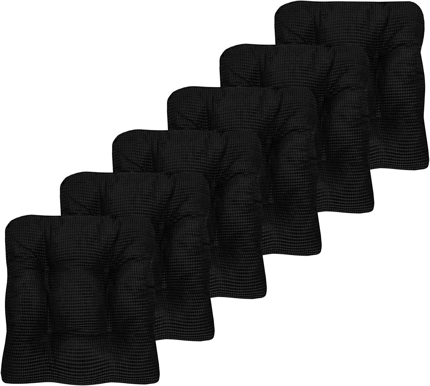 "Sweet Home Collection Chair Cushion Crushed Memory Foam Pads Premium Slip Non Skid Microdot Rubber Back Tufted 16"" x 16"" x 3.25"" Thick Seat Cover, 6 Pack, Black"