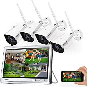 [8CH Expandable] SANSCO 1080P Wireless CCTV Camera System with 12in HD Monitor & Listen-in Audio, (4) Outdoor WiFi Surveillance Cameras with Night Vision, Waterproof, Motion Detection, No Hard Drive