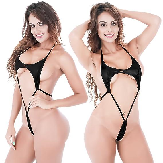 853e70e514135c Women Teeny Weeny Sling Shot Halter Lingerie Babydoll Exotic Micro Mini  Teddy Bodysuit One Piece Bikini Monokini Swimsuit Black at Amazon Women's  Clothing ...