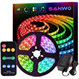 Dream Color LED Strip Lights Sync to Music, 16.4ft RGB 5050SMD Waterproof Flexible String Light - Built-in IC, 150LEDs…