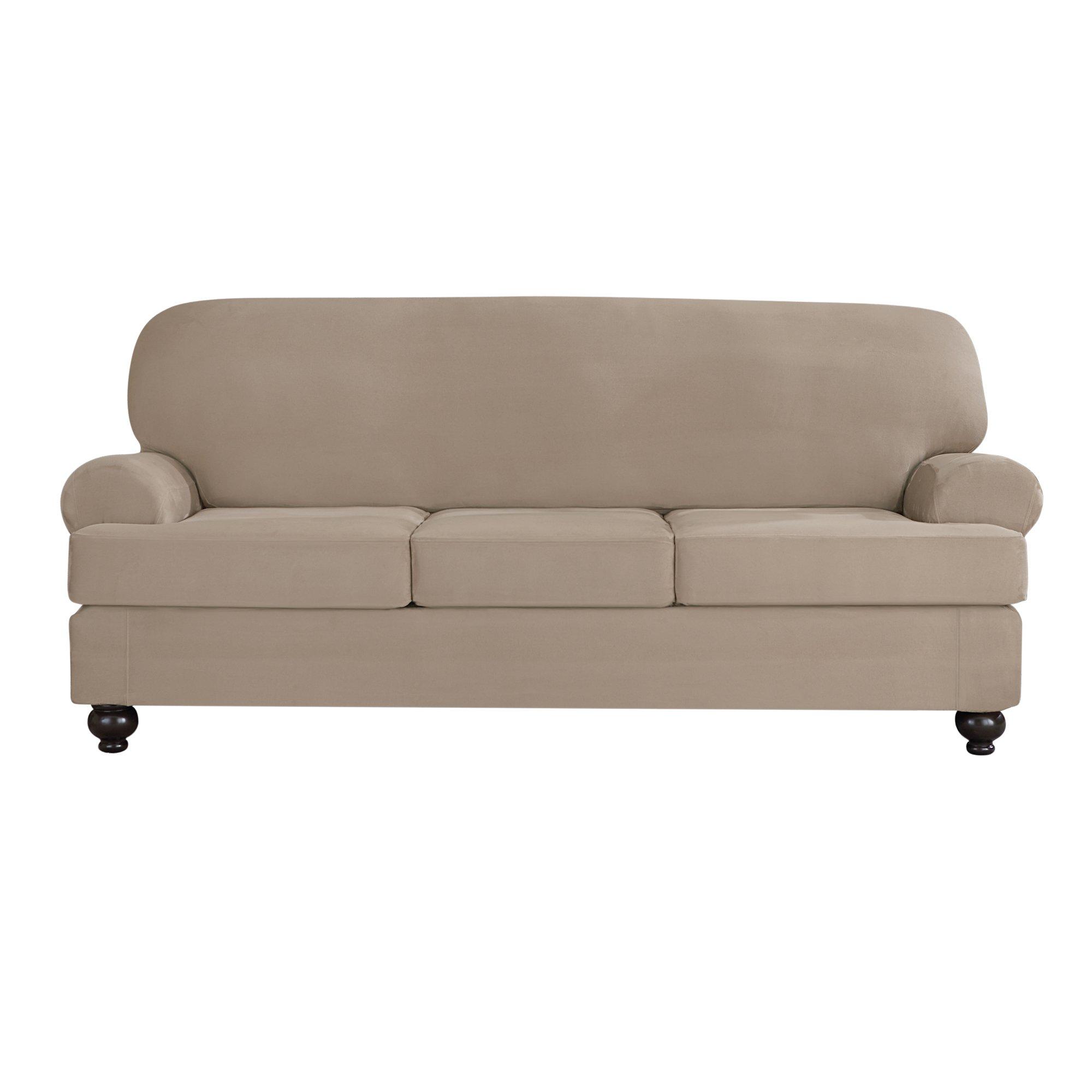 Sure Fit Designer Suede Convertible T-Cushion Sofa 3-Cushion Furniture Cover - Linen (SF44613) by Surefit (Image #1)