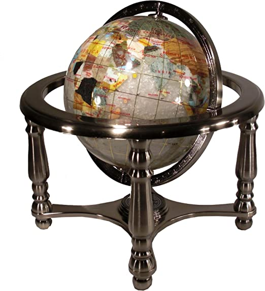 3 Inch Diameter Globe Inlaid Desktop On Stand