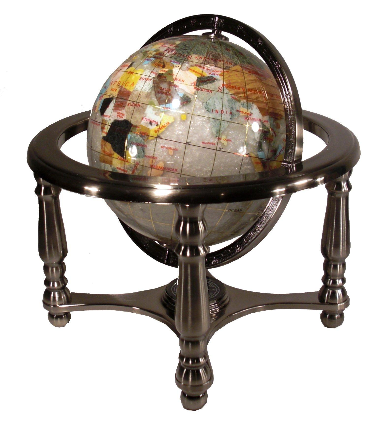 Unique Art 13'' Tall 9'' Diameter Pearl Powder Ocean Desktop 4-Leg Silver Stand Gemstone Globe