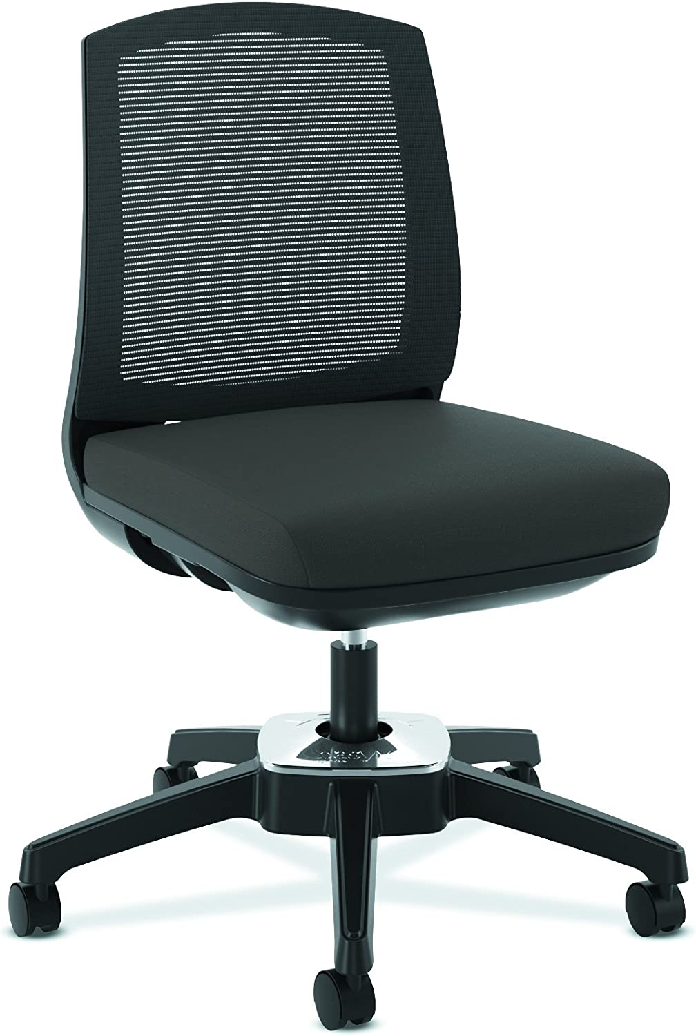 HON Active Task Chair - Armless Computer Chair for Office Desk, Black Mesh  (HVL4)