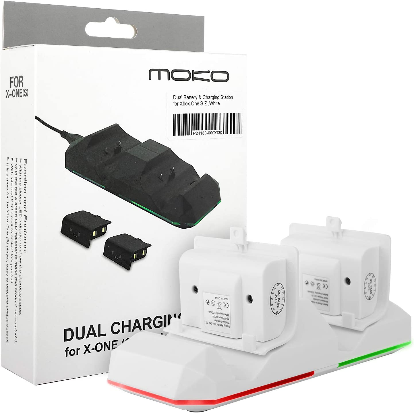 MoKo Xbox One Controller Rechargeable Battery Packs 2 x 600mAh Controller Charging Dock Kit for Xbox One One S One X Xbox One Elite Controllers, White