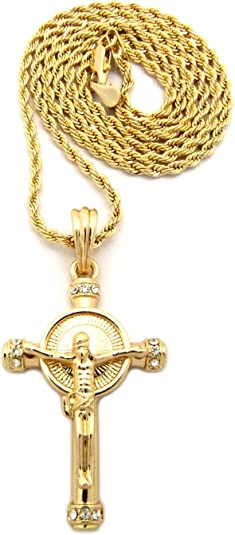 Gold Tone Micro Jesus Crucified Cross Pendant 2mm 24 Rope Chain Necklace RP1G-RC